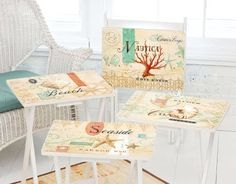 These are wonderful TV tray tables in old-fashioned, artistic designs. Available from Beach Decor Shop. Painted Tv Trays, Tv Tray Table, Decoupage, Beach Theme Bathroom, Beach Themes, Beach Ideas, Coastal Decor, Coastal Living, Nautical Theme