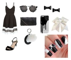 """""""Black and white skater dress"""" by megan-noble-1 on Polyvore featuring Cameo Rose, Illesteva, Casetify, Marc by Marc Jacobs, Topshop, women's clothing, women, female, woman and misses"""