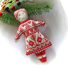 Redwork Doll Christmas Ornament by CherieWheeler on Etsy, $15.00