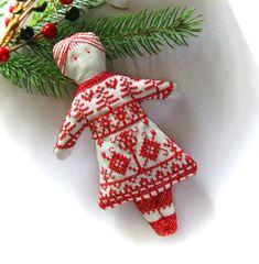 Redwork Doll Cross Stitch Scandinavian Christmas by CherieWheeler, $15.00