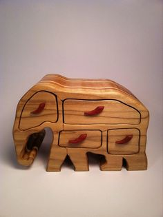 Elephant Bandsaw box by Staggwood on Etsy