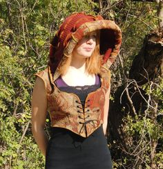 Elf Hoodie Hooded bodice Autumn fire sweater and by JanellyArts, $79.00