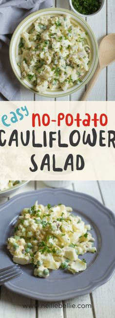 Substitute cauliflower for potatoes in your favorite potato salad! This cauliflower potato salad recipe if a great use of our favorite veggie! via @huttonjanel