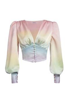 Rainbow Satin Top, Pre order, ships in April. Each piece is carefully and specially dyed by hand. Made of polyester. Kpop Fashion Outfits, Stage Outfits, Fashion Dresses, Fashion Blouses, Looks Chic, Looks Style, Look Fashion, Womens Fashion, Fashion Design