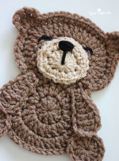 """Crochet Teddy Bear Applique - Repeat Crafter Me I have something """"beary"""" cute for you to crochet! An adorable Teddy Bear Crochet Appliqué! You could use this cutie for so many different projects. I am going to put these on a blanket and Crochet Applique Patterns Free, Crochet Teddy Bear Pattern, Crochet Motifs, Crochet Flower Patterns, Crochet Bunny, Crochet Patterns Amigurumi, Crochet Blanket Patterns, Cute Crochet, Knitting Patterns"""