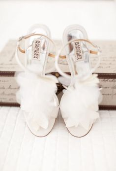 Frilly white wedding shoes