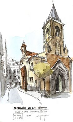 San Isidoro by Alfonso García García AG Colour Architecture, Watercolor Architecture, Architecture Drawings, Urban Sketchers, Pen And Watercolor, Watercolor Paintings, City Sketch, Art Sketchbook, Moleskine
