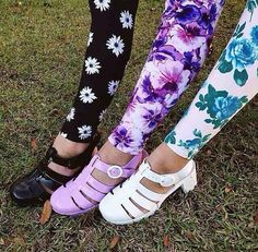 American apparel floral leggings with branded jelly shoes