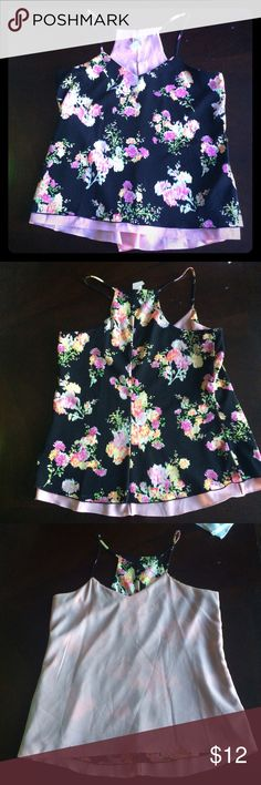 Candies reversible tank Candies reversible tank. Race back type, losing fitting through center. Black with floral print on one side, blush on inside. Tag still attached to blush side (removable). 100% polyester. Like new condition Candie's Tops Blouses