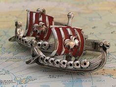 Men's Vintage Cufflinks Vintage Viking Ships by CosmicFirefly