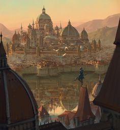 Kid's posthumous by SiChen Wang on ArtStation. - Views and inspiration - Architektur Fantasy City, Fantasy Castle, Fantasy Places, Fantasy Kunst, Medieval Fantasy, Sci Fi Fantasy, Fantasy World, Fantasy Concept Art, Fantasy Artwork