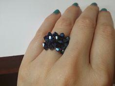 Metallic blue swarovski ring beaded bicone by chiiica