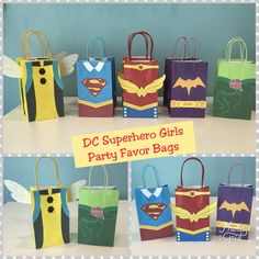 Lina's bday - possible party bags Kylie Birthday, Birthday Party Themes, Girl Birthday, Party Favor Bags, Gift Bags, Girl Superhero Party, Wonder Woman Birthday, Girls Party Decorations, Dc Super Hero Girls