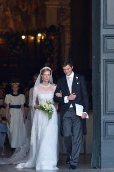 Prince Amedeo of Belgium and Elisabetta Rosboch von Wolkenstein (also known as Lili Rosboch) celebrate as the leave the basilica Santa Maria in Trastevere after they just got married, 05.07.2014 in Rome.