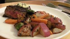 potatoes, carrots, and Brussels sprouts sauteed in herb compound butter