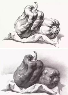 52 Fruit And Vegetable Drawing Ideas - Art Pencil Sketch Drawing, Basic Drawing, Pencil Art Drawings, Realistic Drawings, Figure Drawing, Cartoon Drawings, Easy Drawings, Art Sketches, Drawing Ideas