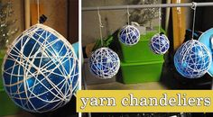 Crafted Love: weekend diys   yarn chandeliers (this is the best tutorial I have seen for this craft)**