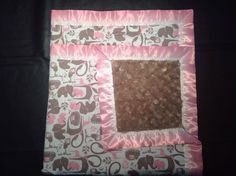 amazing pink and grey elephant baby, toddler, or young girl blanket with grey rose cuddle on the other side.