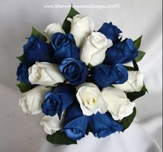 Blu and white bouquet.