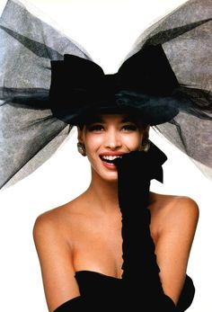 Bill King photographs Christy Turlington for American Vogue, October 1986. Bow by Chanel.