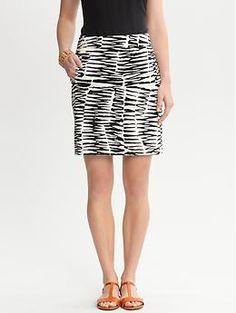 LOVE my new Trina Turk Zazzy Zebra sateen skirt | Banana Republic
