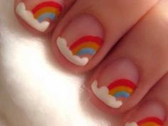 super cute, super easy rainbow nails :) i need to get these colors, so i can do this :) my nails are at least long enough for this lol