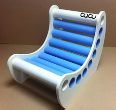 Jabbah chair - white sides + blue and white cardboard tubes www.babu.pt