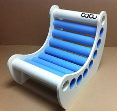 Jabbah chair - white sides + blue and white cardboard tubes www.babu.pt