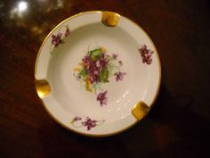 Royal Chelsea English Bone China Ashtray Spring Purple Violets with Gold Trim   eBay