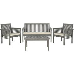 Safavieh Carson Grey Wash Acacia Wood 4-piece Outdoor Furniture Set | Overstock.com Shopping - The Best Deals on Sofas, Chairs & Sectionals