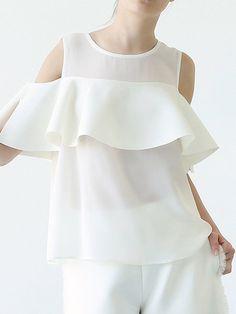 Shop Blouses - White Cold Shoulder Bow Simple Blouse online. Discover unique designers fashion at StyleWe.com.
