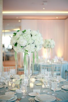 white with blue table cloth?