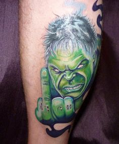 The Hulk giving you the finger tattoo