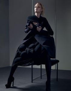 Jacket and bustier: Dolce & Gabbana. Skirt: Comme des Garçons. Scarf (as shoulder shrug): American Apparel. Thigh-highs: Falke. Photography Craig Mcdean  Stylist Karl Templer