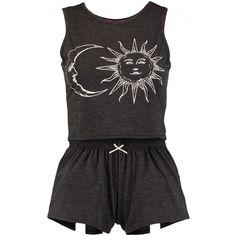 Boohoo Esme Sun And Moon Crop And Short Night Set ($14) ❤ liked on Polyvore featuring intimates, sleepwear, pajamas, black, dresses, pijama and short pajamas