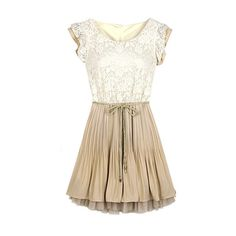 SheIn(sheinside) Beige Lace Frill Sleeve Belt Chiffon Pleated Dress (27 BAM) via Polyvore featuring beige