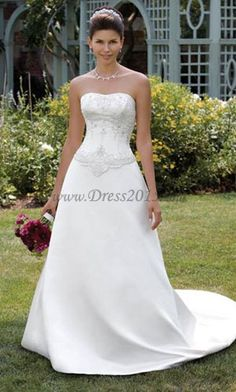 Beautiful A Line Wedding Dress With Beaded Corset Top