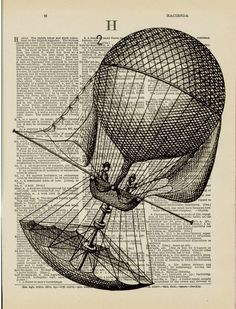 Hot Air Balloon  Airship  Vintage Illustration on by OnceTattered
