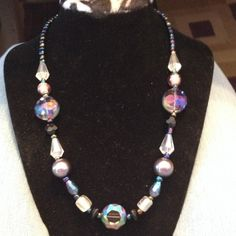 Glass bead iridescent necklace Beautiful statement necklace.  One of a kind.  New Jewelry Necklaces