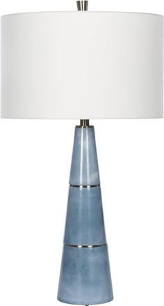 Volterra Blue Bamboo Lamp, Shades Of Light Blue, Black Table Lamps, Ceramic Table Lamps, Bedroom Lamps, W 6, Drum Shade, Lamp Design, House Styles