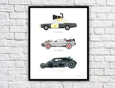 Iconic Movie Car Poster - Delorean, Bluesmobile and The Tumbler from Batman