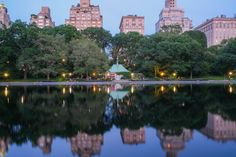 Beautiful pond reflection of buildings, nature, trees and lights at NYC central park From The Ground Up, Conservatory, Buy Frames, Central Park, Pond, Reflection, Buildings, Gallery Wall, Trees