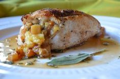 Brie and Apple Stuffed Chicken with Apple Cider PanSauce.