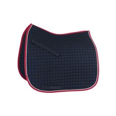 """Horze """"River"""" Dressage Saddle Pad. Eclipse blue with white piping and red binding -- very patriotic for my 4th of July horse, Samuel Adams (""""Sam"""")! $34.00 at Horze.com."""