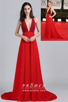 Two Shades of Red Open Back Plunging Neckline Celebrity A-line Prom Dress e1b3a9991