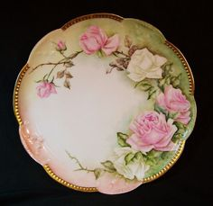 Antique LIMOGES France Hand Painted Charger Platter Plate Gold Signed ROSES #AKLimoges