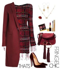 """""""Fringe Thats Chic"""" by ellie366 ❤ liked on Polyvore featuring Tom Ford, Balmain, Gucci, See by Chloé, Christian Louboutin, Theory, Ippolita, Yves Saint Laurent, fringe and velvet"""