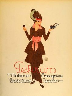 """Tekrum"" This is an original 1926 seven-color lithograph advertising mini poster by Ludwig Hohlwein for Tekrum cookies or biscuits. Period Paper is pleased to o"