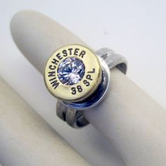 Winchester 38 Special Bullet Ring (sterling silver backed bullet)