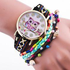 Colorful Owl Dial Conch Quartz Watch